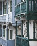 Style. Ancient balconies of wood in a village in galicia Royalty Free Stock Image