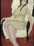 Style of abstract art paint. Oil painting, style of abstract art paint. nude girl is sitting on a chair. White fat body. Hands hang from the railing. Long hair royalty free illustration