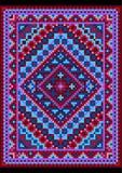 Style ancien vif de tapis aux nuances bleues et pourpres Image stock