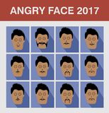 Style Angry Face Man. Flat design avatar app icons set user face people man vector Stock Photos