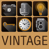 Style antique de vintage d'icône rétro Image libre de droits