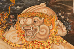 Style art painting on wallThai temple murals. The man came out fighting in the literature Royalty Free Stock Photography