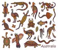 Style australien indigène de dessins d'animaux illustration libre de droits