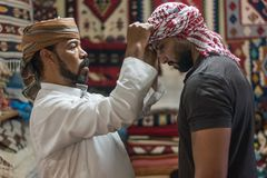 Style bédouin d'écharpe principale dans Siwa Egypte photo libre de droits