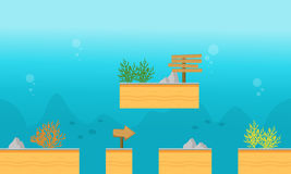 Style background underwater for game. Vector illustration Stock Images