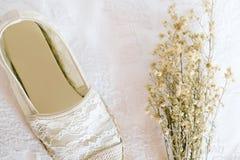 Style blanc de vintage de dentelle de chaussure Photos stock