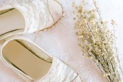 Style blanc de vintage de dentelle de chaussure Images libres de droits