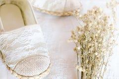 Style blanc de vintage de dentelle de chaussure Photo stock