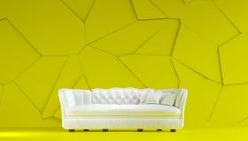 Style blanc moderne de Chesterfield de sofa de tissu dans la chambre jaune citron intérieure avec le mur criqué structuré 3d rend illustration stock