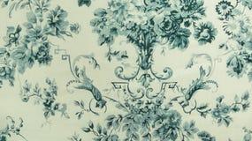 Style bleu de vintage de fond de tissu de rétro modèle sans couture floral de dentelle Photographie stock