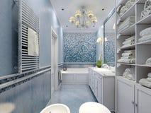 Style bleu spacieux de classique de salle de bains Photographie stock libre de droits