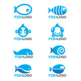 8 style Blue fish logo vector set design Stock Photos