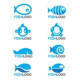 8 style Blue fish logo vector set design Stock Photos