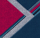 Style blue red with white arrow knitted pattern Royalty Free Stock Photography