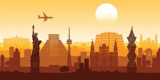 Style célèbre de silhouette de point de repère de l'Amérique du Nord avec la conception o de rangée illustration stock