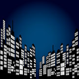 Style Cartoon Night City Skyline Background. Royalty Free Stock Images