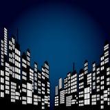 Style Cartoon Night City Skyline Background. Royalty Free Stock Images