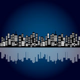 Style Cartoon Night City Skyline Background. Stock Photography