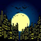 Style Cartoon Night City Skyline Background. Royalty Free Stock Photography