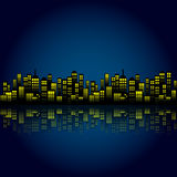 Style Cartoon Night City Skyline Background. Royalty Free Stock Photography