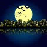Style Cartoon Night City Skyline Background. Stock Photos