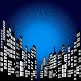 Style Cartoon Night City Skyline Background. Royalty Free Stock Image