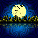Style Cartoon Night City Skyline Background. Royalty Free Stock Photos