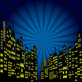 Style Cartoon Night City Skyline Background. Stock Photo