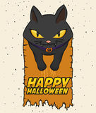 Style Cat Halloween Poster, illustration de bande dessinée de vecteur Photographie stock libre de droits