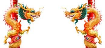 Style chinois de pilier de dragon Photographie stock