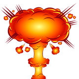 In the style of a comic explosion  the atomic bomb Royalty Free Stock Photos
