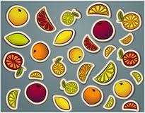Style comique d'autocollants d'agrume illustration stock