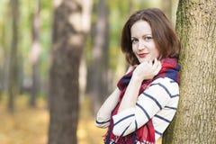 Style Concept: Caucasian Female Model Dressed in Stylish Clothin Stock Image