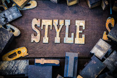 Style Concept Rusty Type. The word STYLE written in rusted metal letters surrounded by vintage wooden and metal letterpress type Royalty Free Stock Photo