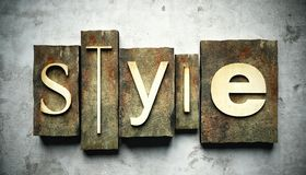 Style concept with vintage letterpress Royalty Free Stock Images