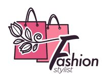 Style consultant, poster with elegant stylish dress clothing vector. stock photography