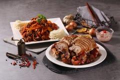 Style coréen Goljok des pieds de porc et du muchim de golbaengi image libre de droits