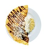 crepes with banana royalty free stock photo