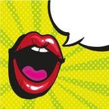 Style criard d'art de bruit de bouche femelle ouverte sexy illustration libre de droits