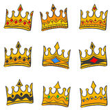 Style crown elegant doodle collection Stock Image