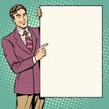 Style d'affiche d'homme d'affaires votre marque ici illustration stock