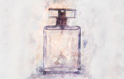 style d'aquarelle et illustration abstraite de bouteille de parfum de vintage illustration stock