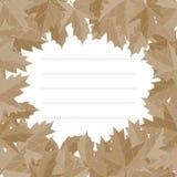 Style d'automne d'autocollant Vecteur en baisse de feuilles Vecteur de carte de voeux L'espace pour le texte Album photos Image stock