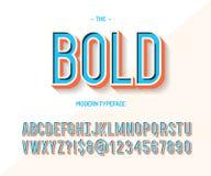 Style 3d coloré de police audacieuse Typographie moderne de tendance d'oeil d'un caractère illustration libre de droits
