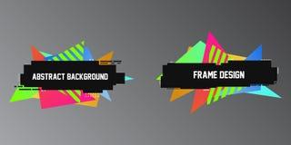 Style d'effet de problème, deux bannières géométriques, cadres avec des formes lumineuses de triangle illustration libre de droits
