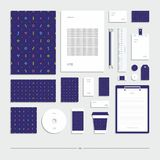 Style d'entreprise avec un modèle géométrique Ensemble de papeterie illustration de vecteur