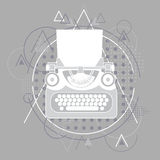 Style d'icône de machine à écrire rétro plat Photos libres de droits