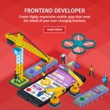 Style 3d isométrique plat se développant d'applications mobiles Les gens travaillant au démarrage Web design rouge Promoteur d'en Photographie stock