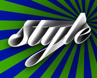 Style 3d Script Word Fashionable Trend Fad Beauty in Vogue. Style word in 3d letters on a blue and green background to illustrate trends and fads that are in Royalty Free Stock Photography