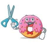 Style de bande dessinée de caractère de Barber Donut Illustration Libre de Droits
